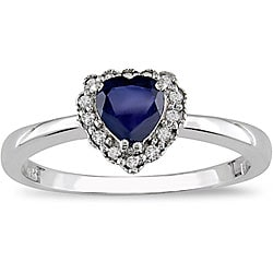 Miadora 10k Gold Sapphire and Diamond Heart Ring