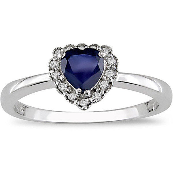 Miadora 10k Gold Sapphire and Diamond Heart Ring 8011090