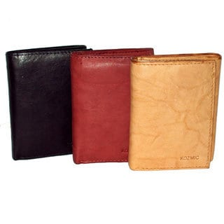 Kozmic Men's Cowhide Leather Tri-Fold Wallet