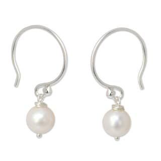 Snow Queen Elegant Perfect for Bridal Round White Pearl Drops on 925 Sterling Silver Hooks Womens Dangle Earrings (Thailand)