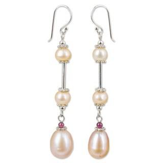 Pearl and Garnet 'Pink Lotus' Earrings (Thailand)