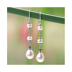 Pearl and Garnet 'Pink Lotus' Earrings (Thailand)