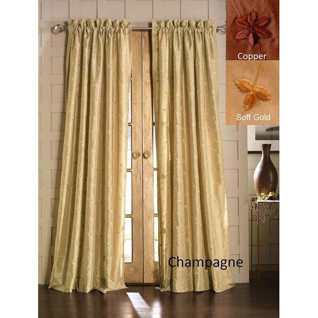 Jasmine Embroidered Taffeta Curtain Panel