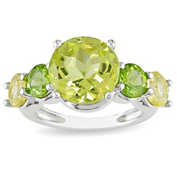 Miadora Sterling Silver Lemon Quartz Peridot Citrine Ring