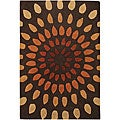 Tan/ Brown Mandara New Zealand Wool-blend Rug (5'6 x 7'9)