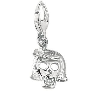Sterling Silver 'Girl Skull' Charm