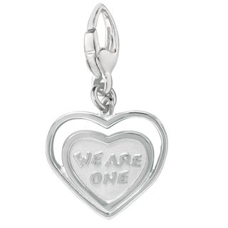 Sterling Silver 'We Are One' Heart-shape Charm