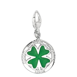 Sterling Silver/ Enamel 'Good Luck Clover' Charm