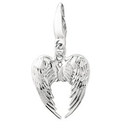 Textured High-polished Sterling Silver Heart-shaped Wings Charm