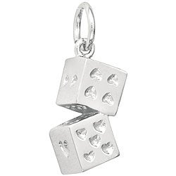 Sterling Silver Heart Dice Charm