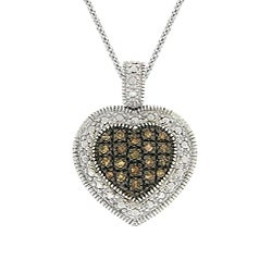 DB Designs Sterling Silver 1/5ct TDW Brown Diamond Heart Necklace