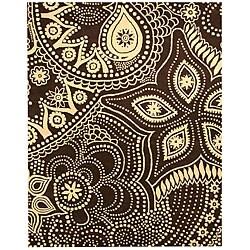 Paisley Brown/ Beige Rug (7'9 x 9'9)