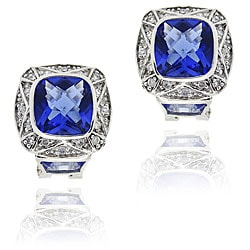Icz Stonez Sterling Silver Blue Cubic Zirconia Square Earrings