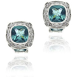Icz Stonez Sterling Silver Caribbean Mist CZ Square Earrings
