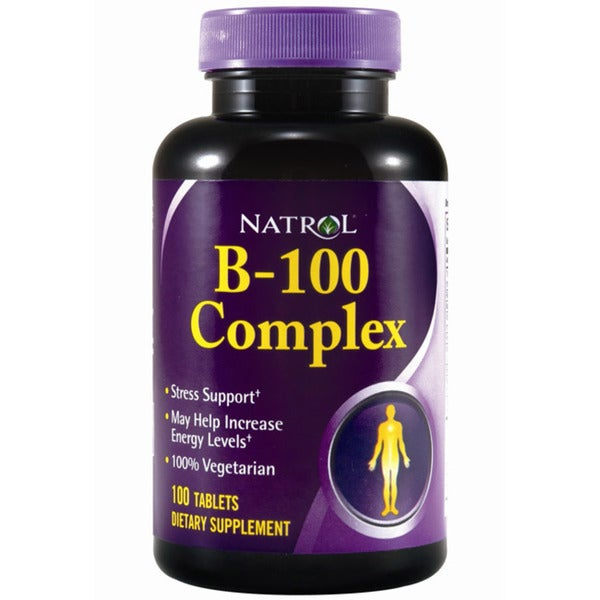 Natrol B-100 Complex Vitamin Supplements (Pack of 2 100-count Bottles)