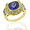 Icz Stonez 18k Goldplated Silver Blue CZ Square Ring