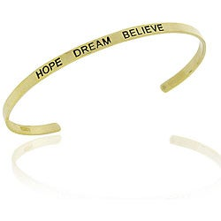 Mondevio Goldplated Sterling Silver 'Hope, Dream, Believe' Bangle