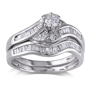 SHIRA 14k White Gold 1/2ct TDW Diamond Bridal Ring Set (G-H, I1-I2)