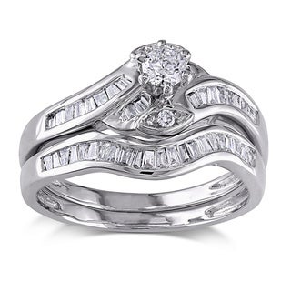 Shira Design 14k White Gold 1/2ct TDW Diamond Bridal Ring Set (G-H, I1-I2)