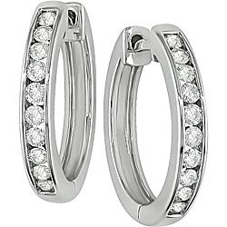 Miadora 14k White Gold 1/2ct TDW Diamond Hoop Earrings (H-I, I1-I2)