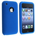 Textured Blue Silicone Skin Case for Apple iPhone
