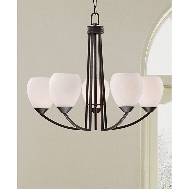Contemporary 5-light Antique Bronze Chandelier