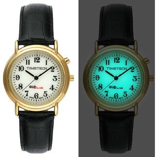 Timetech Men's Glo-Brite Dial Goldtone Round Watch