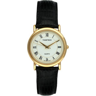 Timetech Men's Goldtone Black Leather Strap Watch