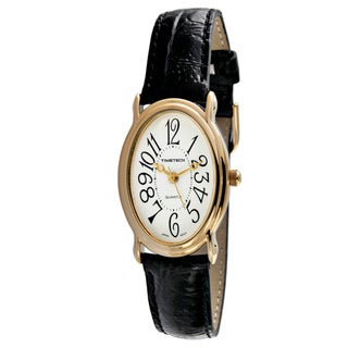 Timetech Women's Black Leather Oval Goldtone Watch