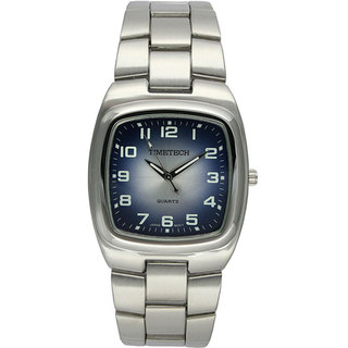 Timetech Men's Square Blue Dial Silvertone Bracelet Watch