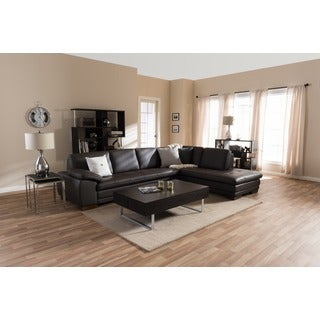 Alistaire Black Leather Chaise/ Sofa Set