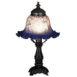 Victorian Petal Pink and Blue Bell Shade Lamp