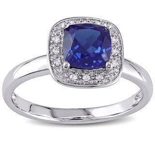Miadora 10k Gold Created Sapphire and Diamond Accent Ring