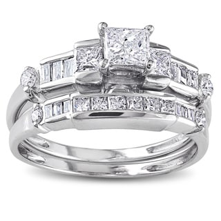 Miadora 14k White Gold 1ct TDW Diamond Bridal Ring Set (H-I, I1) with Bonus Earrings