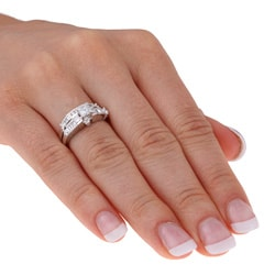 Miadora 14k White Gold 1ct TDW Diamond Bridal Rings Set (H-I, I1)