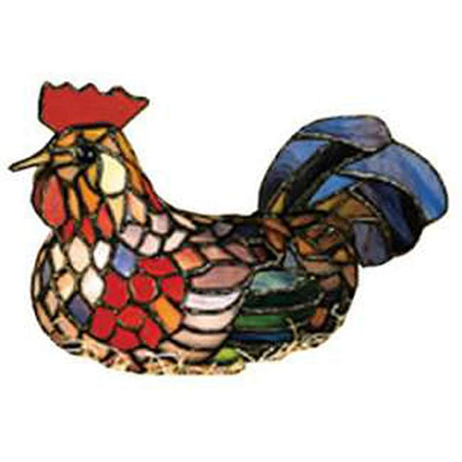 Tiffany-style Rooster Accent Lamp