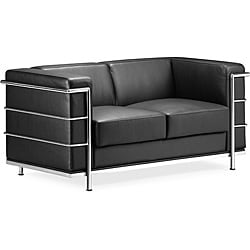 Black Leather Glamour Loveseat