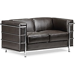 Espresso Leather Glamour Love Seat