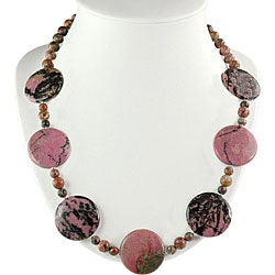 Silver Rhodonite Medallion Necklace (Thailand)
