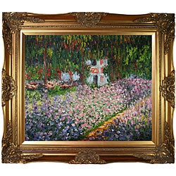 Monet 'Artist's Garden at Giverny' Hand-painted Canvas Art