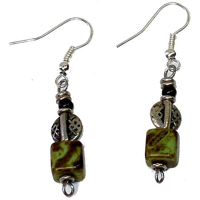 Handcrafted Green Swirl Cube Bead Earrings (Kenya)