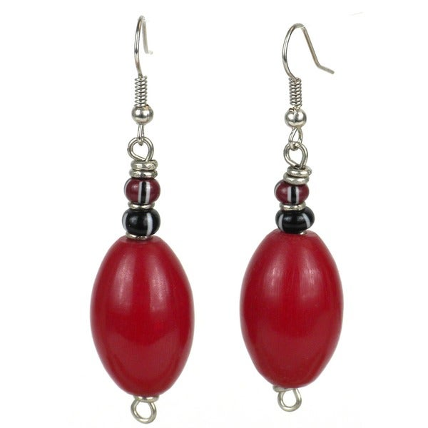 Handcrafted Red Amber-resin Bead Earrings (Kenya)