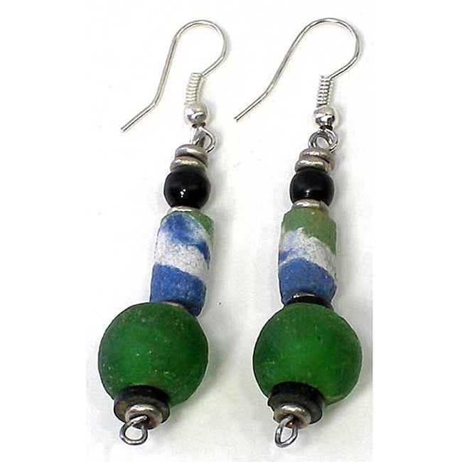 Handcrafted Recycled Green Glass Round Bead Earrings (Kenya)