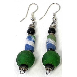 Green Round Bead Earrings (Kenya)