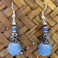 Handcrafted Recycled Blue Glass Bead Earrings (Kenya)