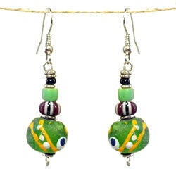 Handcrafted Painted Green Recycled Glass Bead Earrings (Kenya)