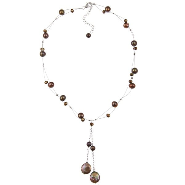 DaVonna Silver Brown FW Round and Coin Pearl Tin Cup Necklace (4-14 mm) 5179607