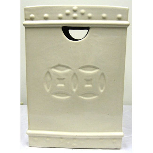 Square Double Coin Ceramic Cream Garden Stool