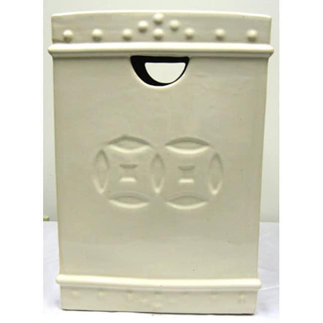 Square Double Coin Ceramic Cream Garden Stool
