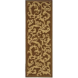 Indoor/ Outdoor Mayaguana Brown/ Natural Runner (2'4 x 6'7)